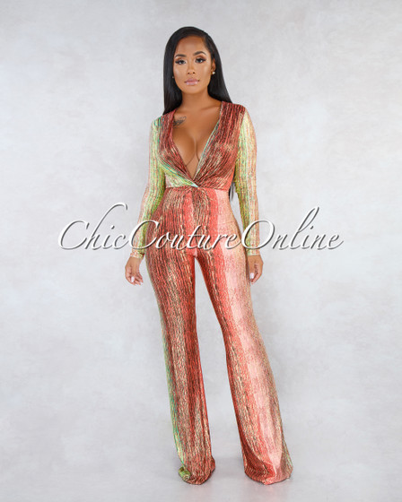 Myrana Orange Multi-Color Shimmer Front Knot Jumpsuit