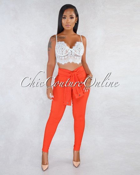 Rue Orange Red Faux Self-Tie Sleeves Trouser Pants