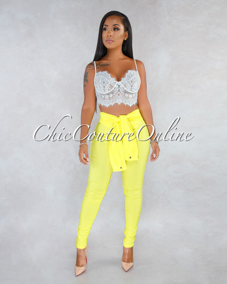 Rue Yellow Faux Self-Tie Sleeves Trouser Pants