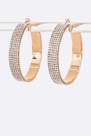 Ymana Golden Pavé Hoop Earrings