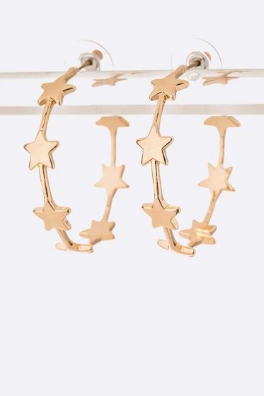 Starry Golden Pavé Hoop Earrings