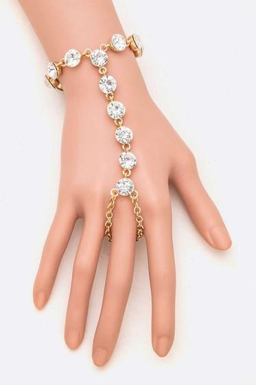 Styla Golden Rhinestone Hand Bracelet
