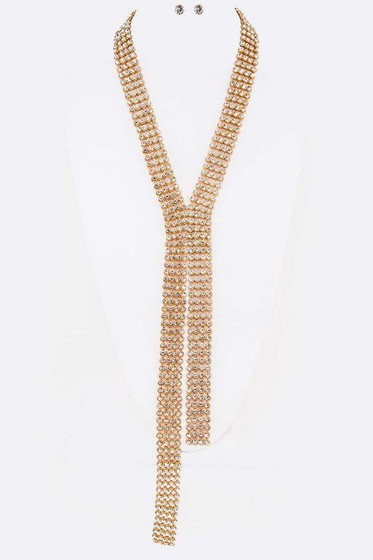 Archie Pavé Crystals Mesh Statement Necklace Set