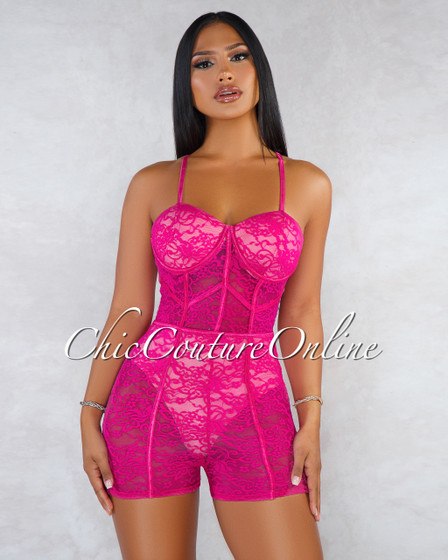 Doriana Fuchsia Lace Sheer Nude Illusion Padded Romper