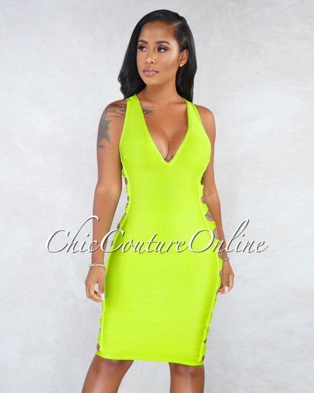 Cece Neon Green Silver Rings Strappy Cut-Out Bandage Dress