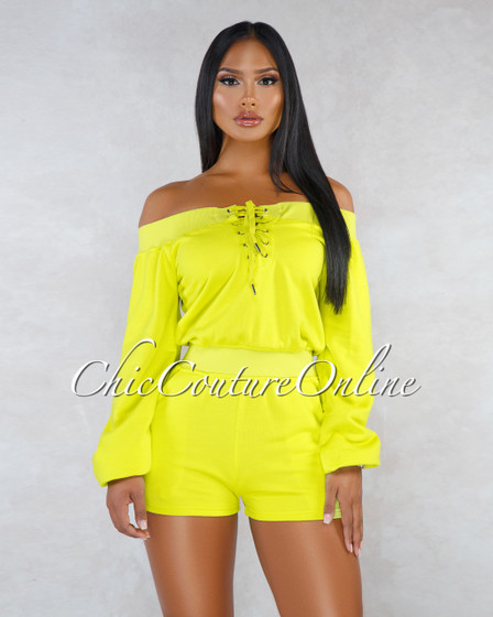 Zoe Lime Off-The Shoulder Sweater Romper