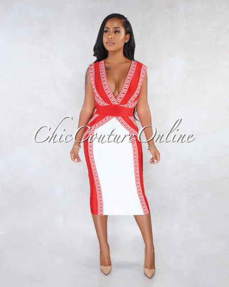 Oxana Red White Fret Print Bandage Midi Dress