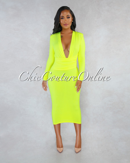 Zulia Neon Lime V-Neck Draped Waist Midi Dress