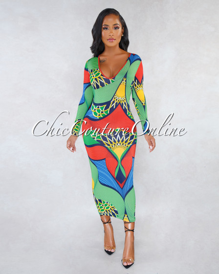 Kysa Green Red Multi-Color Print V-Neck Midi Dress