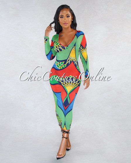 Kysa Green Red Multi-Color Print V-Neck CURVACEOUS Midi Dress