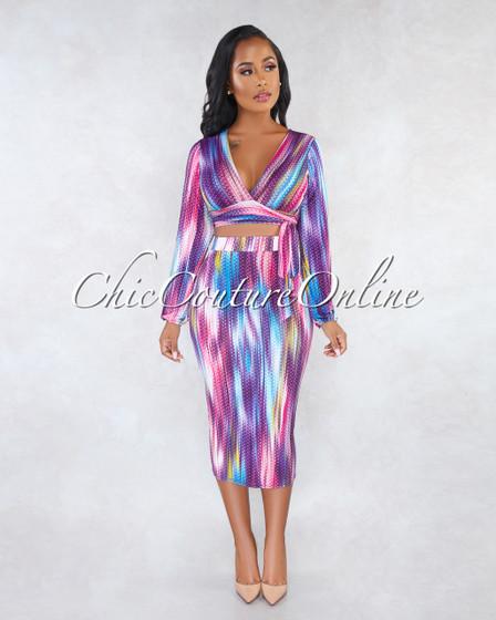 Cassandra Purple Multi-Color Pencil Skirt Two Piece Set