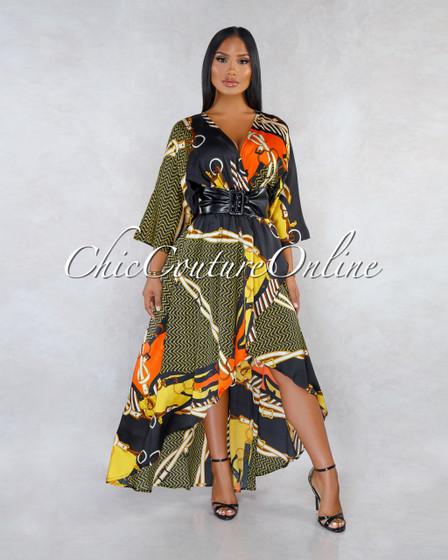 Matilde Black Gold Print Satin High-Low Faux Leather Belt Dress