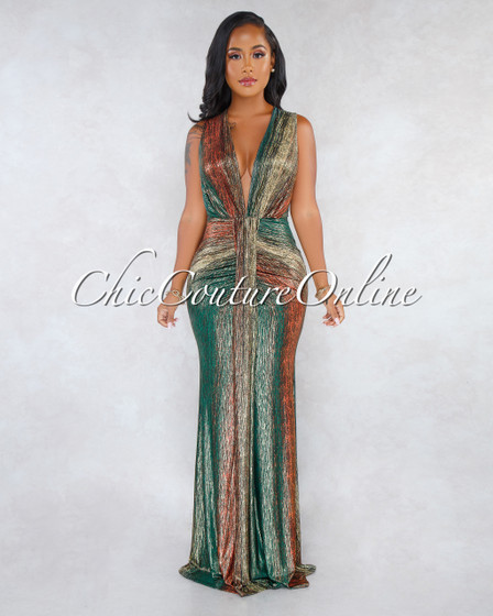 Destiny Olive Rust Gold Shimmer V-Neck Drape Maxi Dress