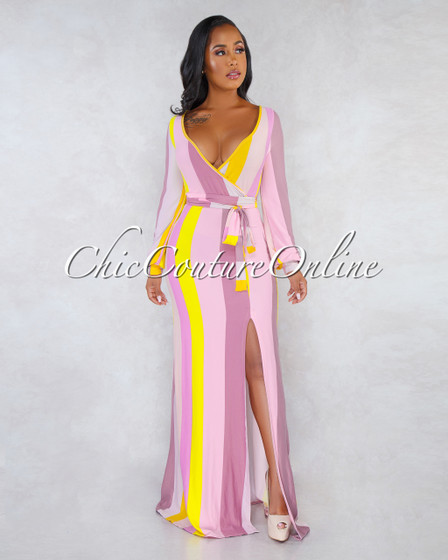 Keiko Pink Yellow Stripes Long Sleeves Self-Tie Belt Maxi Dress