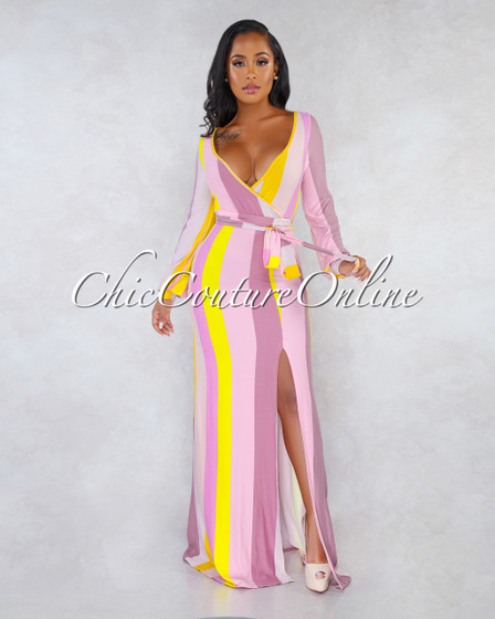 Keiko Pink Yellow Stripes Self-Tie Belt CURVACEOUS Maxi Dress
