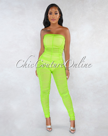 Barista Neon Green Ruched Mesh Strapless Jumpsuit