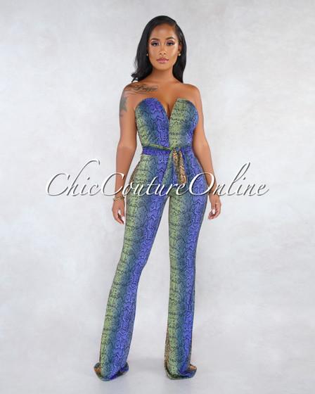 Gaileh Olive Blue Snake Print V Neckline Jumpsuit