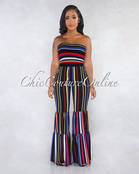 Verdi Black Multi-Color Stripes Smocked Top Bell Hem Jumpsuit