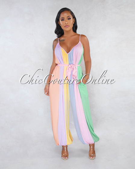 Twilight Pastel Tones Stripes Oversized Jumpsuit