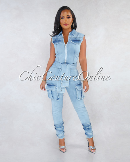 Jamison Light Denim Faux Sleeves Front Tie Cargo Jumpsuit