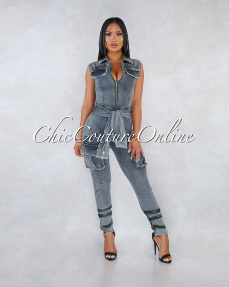 Jamison Black Denim Faux Sleeves Front Tie Cargo Jumpsuit