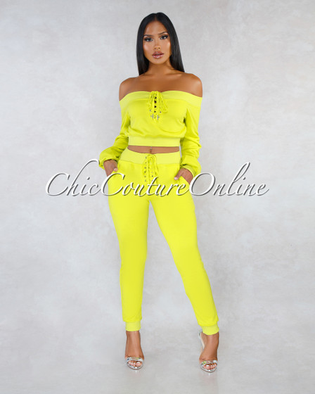 Laure Neon Green Lace Up Sporty Jogger Set