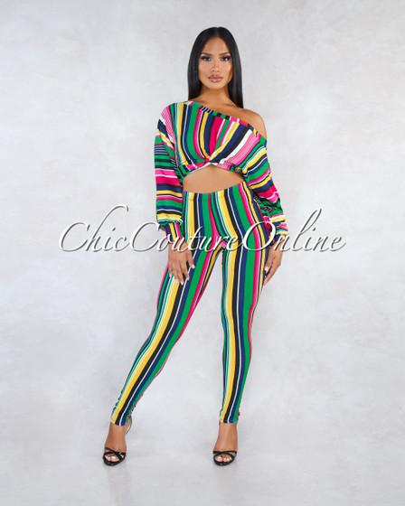 Millie Green Multi-Color Stripes Two Piece CURVACEOUS Set