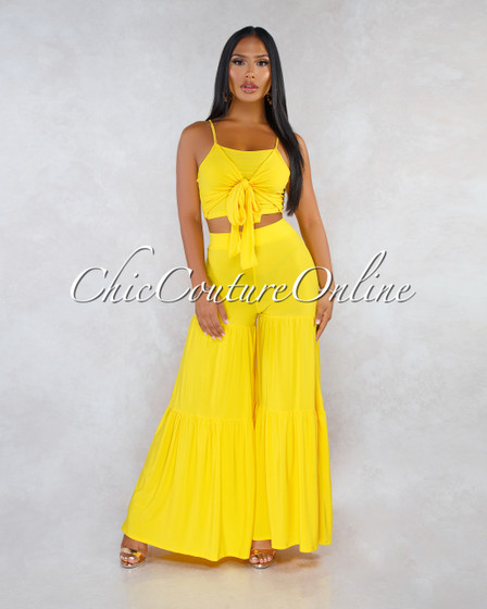 Jesse Sunflower Yellow Front Tie Top Bell Legs Two Piece Set