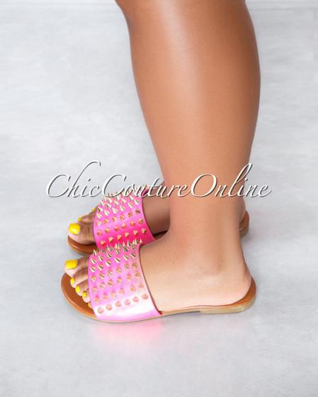 Pazzle Neon Pink Gold Studs Upper Slides