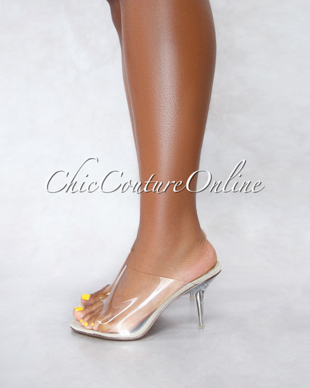 Stealthy Nude Clear Upper Clear Heel Sandals