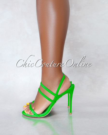 Unrelated Neon Green Elastic Straps High Heel Sandals