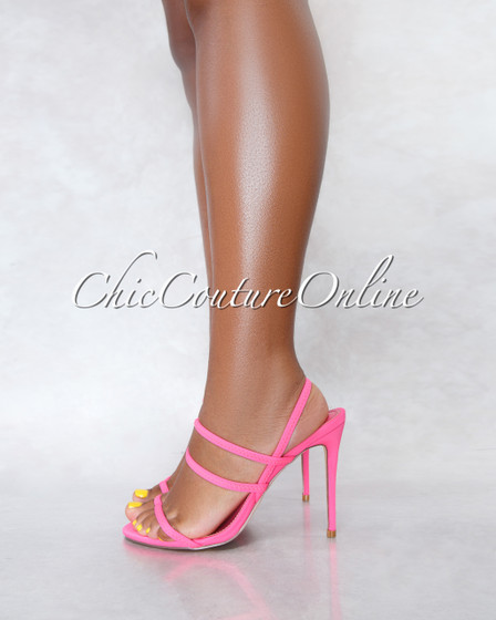 Unrelated Neon Pink Elastic Straps High Heel Sandals