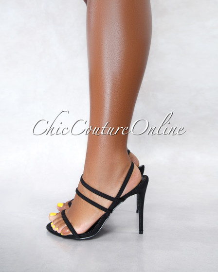 Unrelated Black Elastic Straps High Heel Sandals