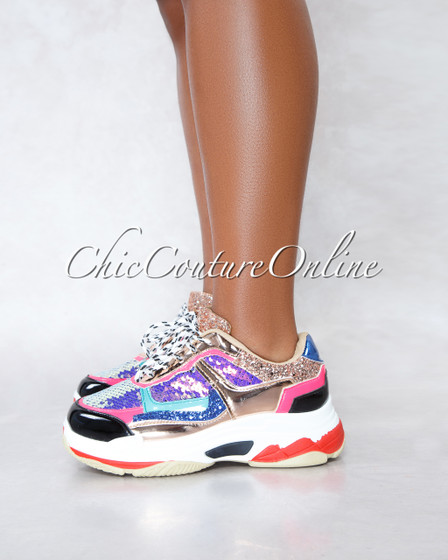 Flag Ship Multi-Color Sequins Shimmer Lace-Up Sneakers