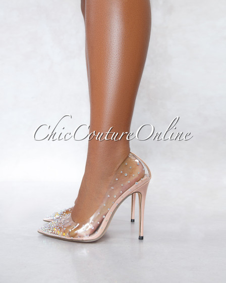 Liliana Nude Clear Iridescent Rhinestones Pumps