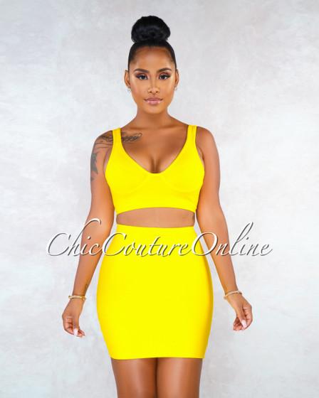 Girasol Sunflower Yellow Bandage Two Piece Skirt Set