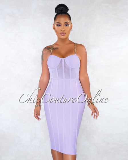 Keke Lavender Mesh Trim Gold Chain Bandage Dress