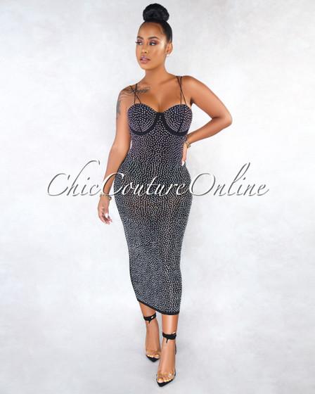 Jency Black Mesh Iridescent Rhinestones Bodysuit Dress