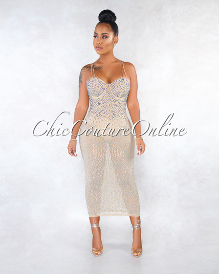 Jency Nude Mesh Iridescent Rhinestones Bodysuit Dress