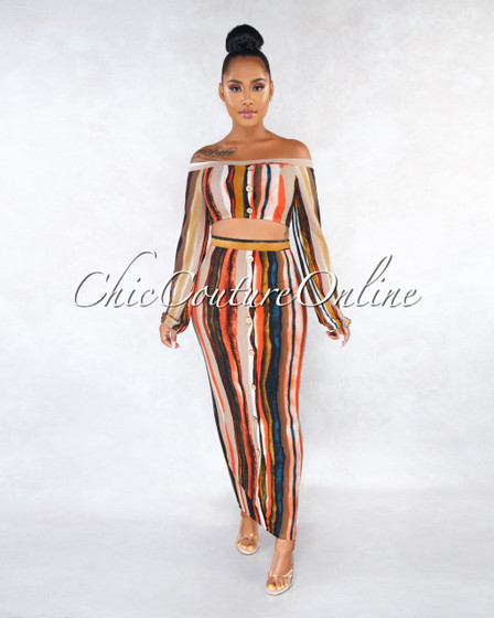 Lorena Terracotta Stripes Front Buttons Two Piece Set