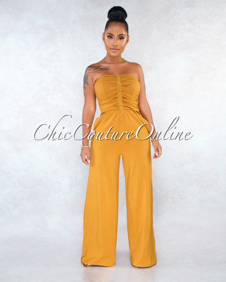 Louise Camel Smocked Buttons Top Jumpsuit