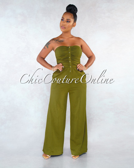 Louise Olive Green Smocked Buttons Top Jumpsuit