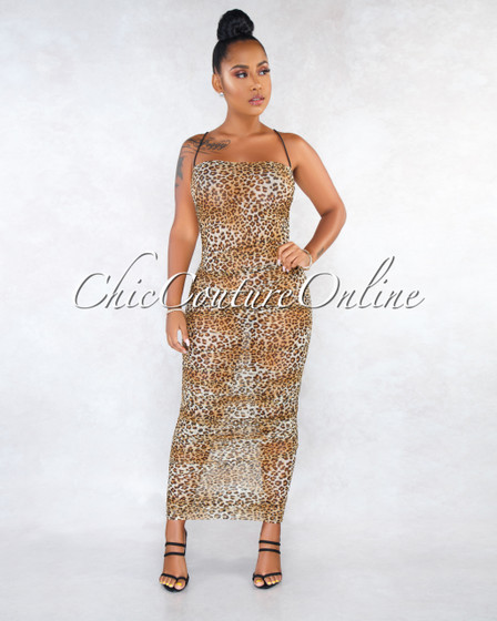 Tylor Leopard Print Sheer Mesh Ruched Maxi Dress