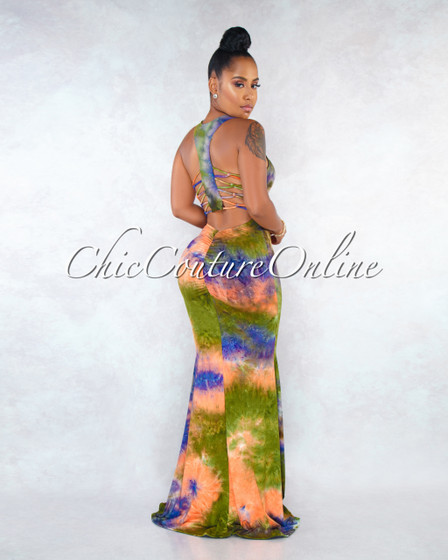Doves Rust Purple Tie-Dye Back Cut-Out Strapy Maxi Dress