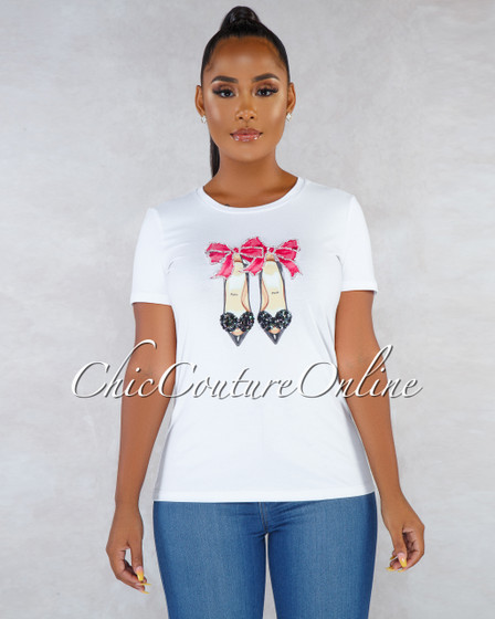 Paris Off-White Rhinestones Graphic T-Shirt