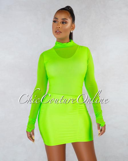 Melaney Neon Green Mesh Top Ruched Bottom Mini Dress
