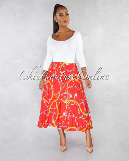 Magnus Red Yellow White Chain Print Pleated Midi Skirt