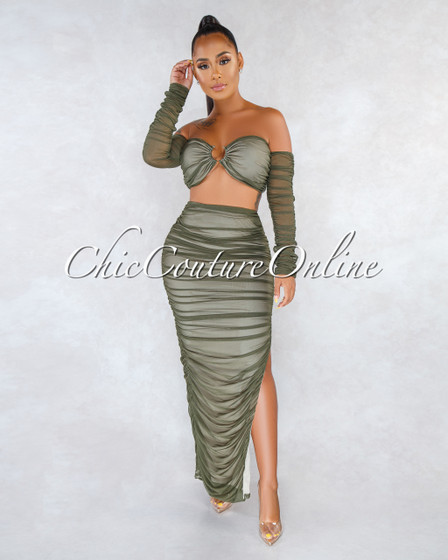 Robles Olive Green Mesh Nude Illusion Ruched Two Piece Set