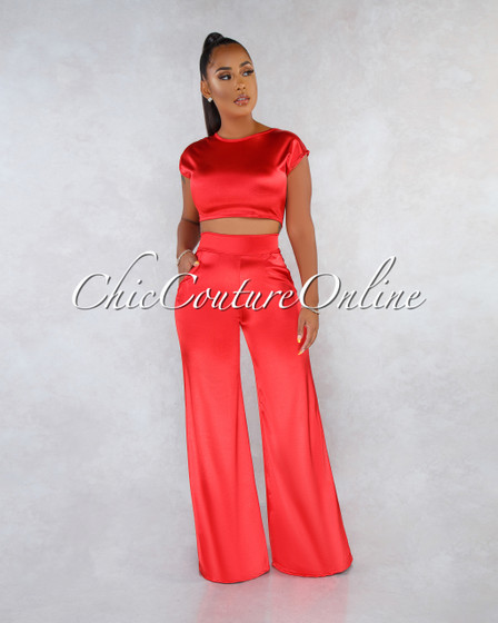 Monroe Red Silky Two Piece Luxe Set