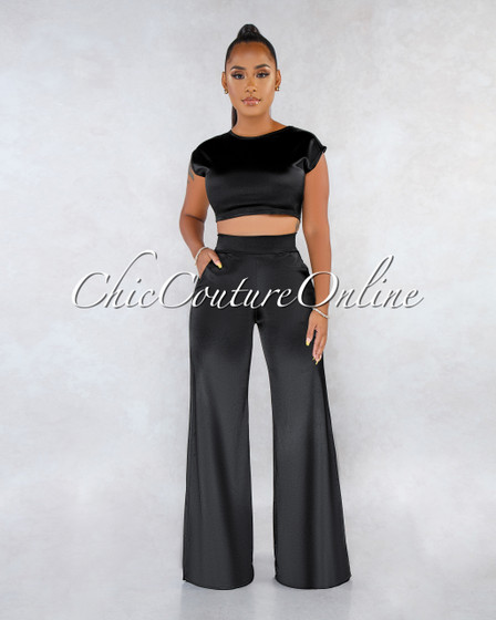 Monroe Black Silky Two Piece Luxe Set